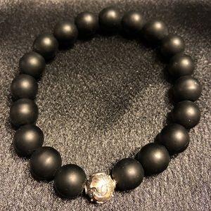 Matte Black Agate Stretch Bead Beacelet